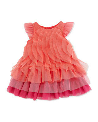 Catimini Designer Hot Pink & Orange Ruffle Girls Kids Tulle Dress Sz 6 (Girls Hot Pink Dresses)
