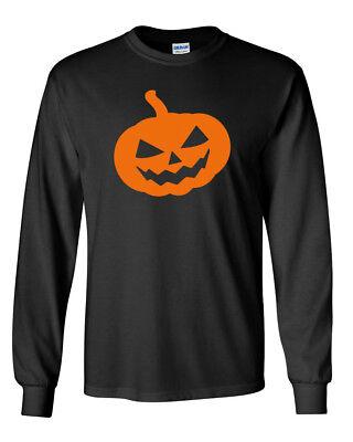 Skeleton Long Sleeve Shirt Costume (Long Sleeve Pumpkin #2 T Shirt Halloween Scary Face Tee Skeleton Easy)