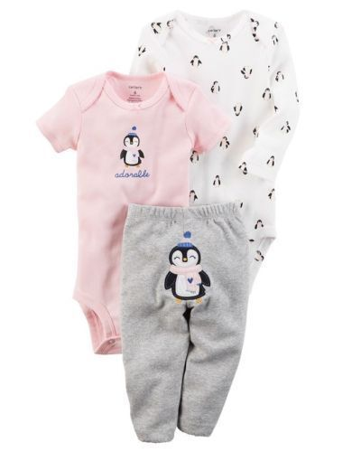 "Carters Baby Girls ""adorable"" 3 Piece Bodysuit & Pant Set -"