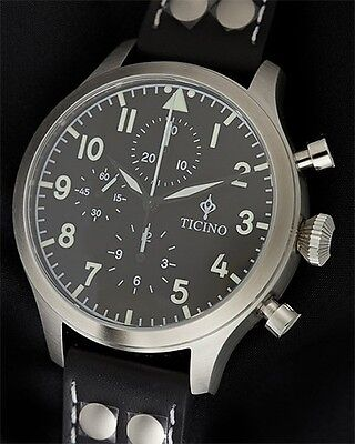 b9af5ccd0d8 Ticino BF-109 Automatic Pilot Chronograph Watch sapphire crystal