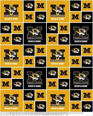 UNIVERSITY OF MISSOURI COTTON FABRIC- MISSOURI TIGERS COTTON FABRIC-MO020 ()