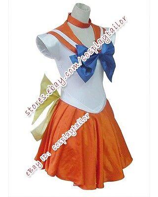 Sailor Moon Venus Orange Sailor Uniform Party Dress Cosplay Costume Halloween