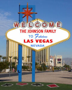 personalized welcome to las vegas sign photo 8x10 strip. Black Bedroom Furniture Sets. Home Design Ideas