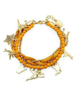DISNEY T Couture Silk Braid Tinkerbell Charm Bracelet W/ Simulated Gem