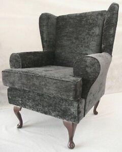 ARM CHAIR WING BACK CHAIR FIRESIDE CHAIR GREY CHENILLE FABRIC EBay