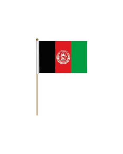 """AFGHANISTAN 12"""" X 18"""" INCH COUNTRY FLAG BANNER ON 2 FOOT WOODEN STICK"""