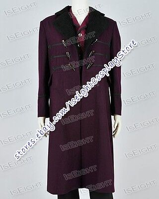 Doctor Brown Who Dr 11th Movie Costume Purple Trench Coat Halloween High Quality - 11th Doctor Halloween Costume