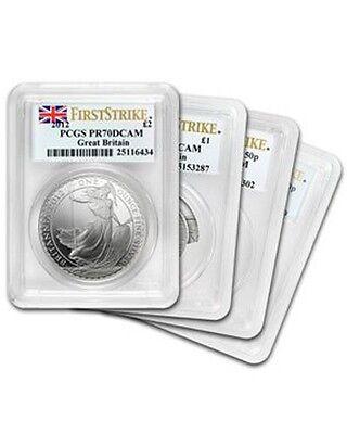 2012 Silver Great Britain Britannia PR70 DCAM PCGS First Strike - 4 Coin set
