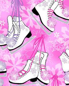 Ice Skates Figure Skating Pink Metallic Snow Winter Cotton Fabric Print D579.06