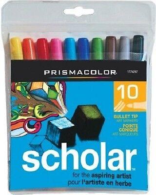- 10 - PRISMACOLOR Scholar Bullet Tip Art Markers - New - #1774267