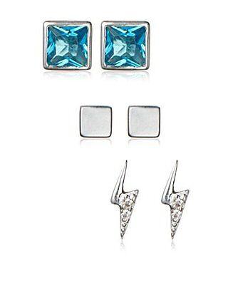 Argento Vivo Sterling Silver Triple Stud Earring Set Lightning Bolt Opal Squares