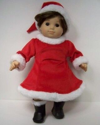RED Christams Santa Claus Helper Dress & Faux Fur Hat For Bitty Baby Girl - Santa Claus Dress For Babies