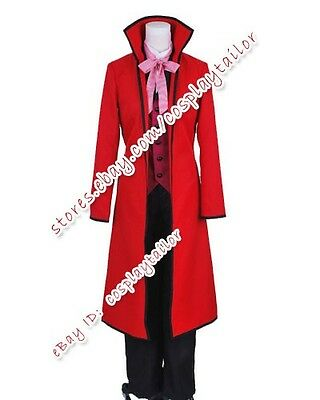 9Black Butler Shinigami Grell Sutcliff Red Party Suit Cosplay Costume Halloween  - Shinigami Halloween Costume
