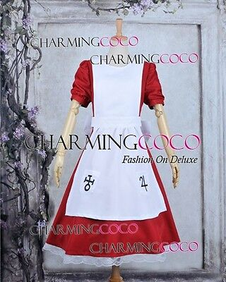 Alice Madness Returns Cosplay Alice Costume Red Dress White Apron Halloween Cute](Alice Madness Returns Halloween)