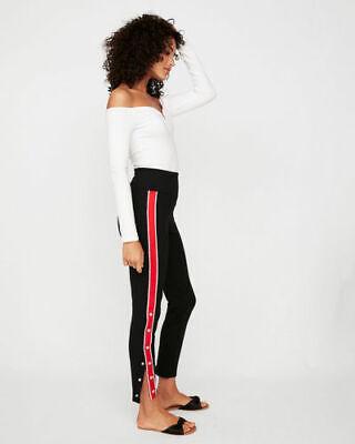 NWT $60 Express Black High Waist Red Side Stripe Snap Leggings Pants Sz XS NEW Snap-leggings