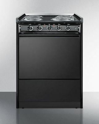 "24"" Wide Slide-in Coil-top Electric Range in Black"