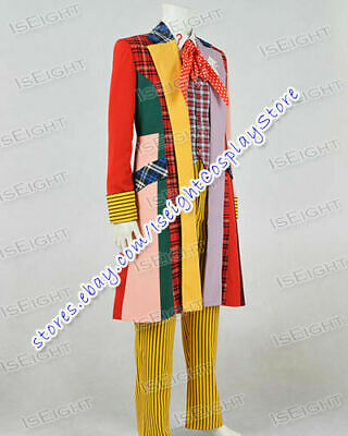Doctor Brown Who 6th Sixth Dr Cosplay Costume Lattice Stripe Outfit In Stock - Doc Brown Outfit