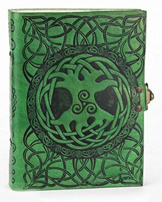 Celtic Tree of Life journal sketch book Handmade green leather Jen Delyth