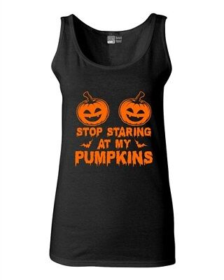 Junior Stop Staring At My Pumpkins Funny Halloween Costume Sleeveless Tank