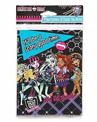 MH Monster High 8 Invitations & 8 Thank You Cards Birthday Party Supplies  - Monster High Party Invitations