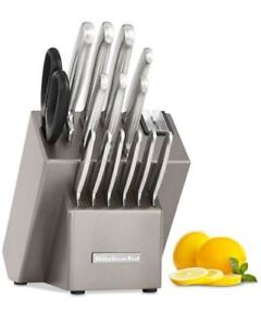 KitchenAid 16 Pc. Stainless Steel Cutlery Knife Block Set W/Sharpener  Sealed New