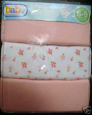 Baby Connection 3 PACK BABY GIRLS BODY SUITS T-Shirt SIZE 6-9 MONTHS NIP