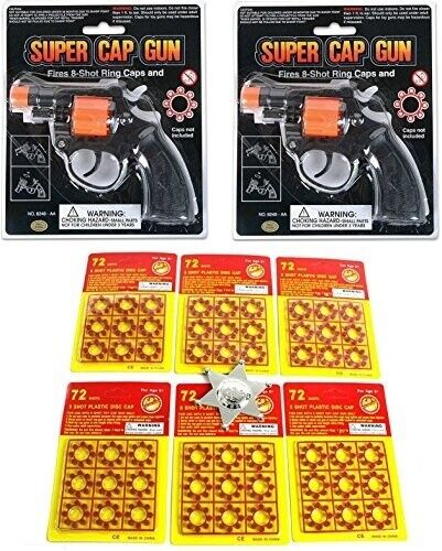 Super Bang Ring CAPS 6 Packs + 2 Cap Gun Toys, Badge 8 Shots FIRES 432 shots