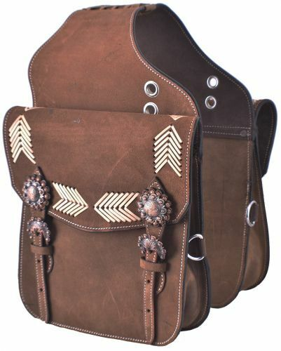 Western Trail Rawhide Laced Roughout Brown Leather Horse - Motorcycle Saddle Bag
