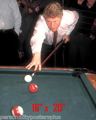 "President Clinton~Playing Pool~Billiards~Shooting Pool~Poster~Photo~ 16"" x  20"""