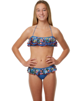 New Original and Branded JETS Kids Girls Botanical Frill Bikini -