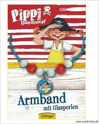 ♥ PIPPI LANGSTRUMPF ARMBAND mit Glasperlen Schmuck Kinder NEU 4260160892853