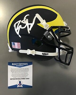bac9ef5ab9b BIG SEAN SIGNED MICHIGAN WOLVERINES MINI HELMET BECKETT COA C12943