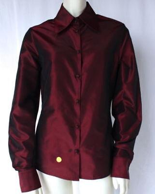 PAMELLA ROLAND Red Silk Button Down Point Collar Career Top Blouse SZ 8 HS2778