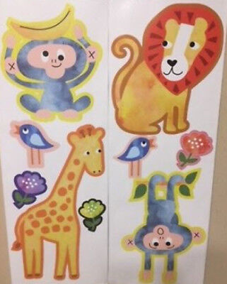 JUNGLE ANIMALS wall stickers 9 decals monkey giraffe lion ZOO SAFARI (Jungle Animals Wall Stickers)
