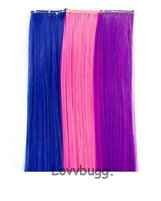 "Lovvbugg Set of 3 Hair Extensions for 18"" American Girl Doll Accessory"