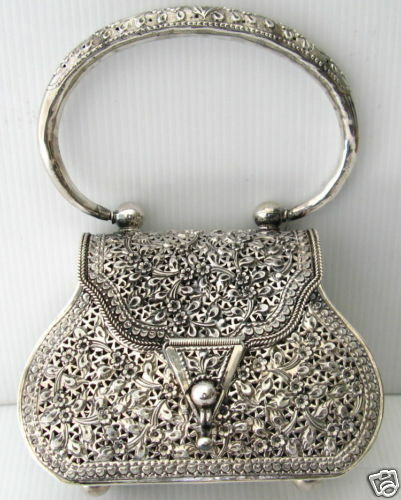AUTH 925 SILVER FILIGREE VINTAGE SHAPE HANDBAG PURSE