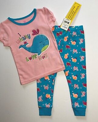NWT I Whaley Love You Baby Tight Fit Pajamas 2 Pc Set Pink Sz 9M 12M 18M 24M (I Whaley Love You)