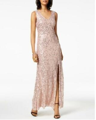 Nightway Womens Rose Gold Pink Sequin Lace Long Slit Gown Dress Sz 8 14 $139 {&} (Gown Pink)