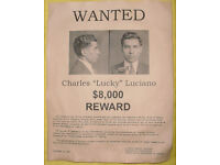 LUCKY LUCIANO  WANTED POSTER  EXACT REPRODUCTION ON 22 LB PARCHMENT PAPER $3.49