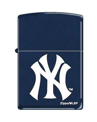 """Zippo """"New York Yankees"""" Logo Lighter, Navy Blue Matte, 8260"""