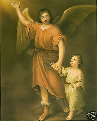 Guardian Angel Picture Frame - Catholic Print Picture GUARDIAN ANGEL w/ Child MURILLO 8x10
