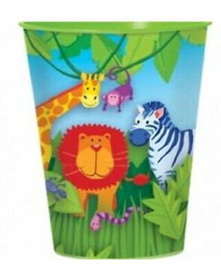 JUNGLE ANIMALS plastic Favor Cup Birthday Party Supplies 16oz reusable safari - Jungle Birthday Party