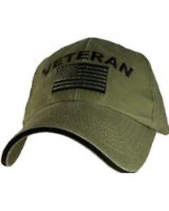 US ARMY Veteran - U.S. Army with Flag OD Green Baseball Cap Hat