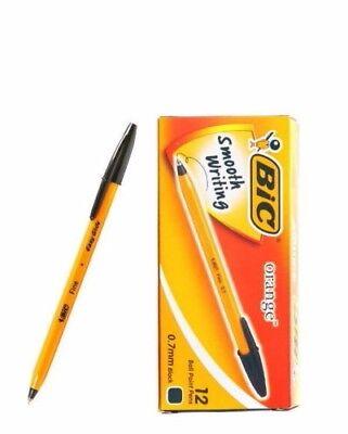 0.7mm BIC Orange Fine  Easy Glide ball point pen 1 BOX (12 PCS) BLACK
