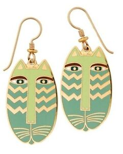 Laurel-Burch-Native-Cat-Cloisonne-Drop-Earrings-cats-RETIRED