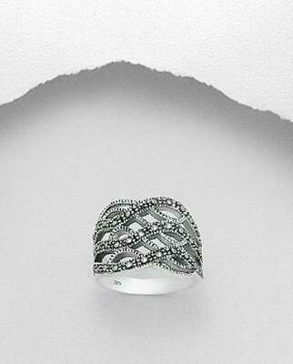 MARCASITE STERLING SILVER Intertwined RING classy elegant statement vintage Elegant Marcasite Ring