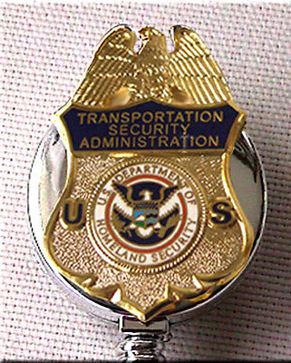 TSA ID Holder Enameled Gold on Silver Retractable DHS