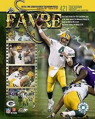 """BRETT FAVRE """"Packers"""" Record 421 TD passes LICENSED picture poster 8x10 photo"""