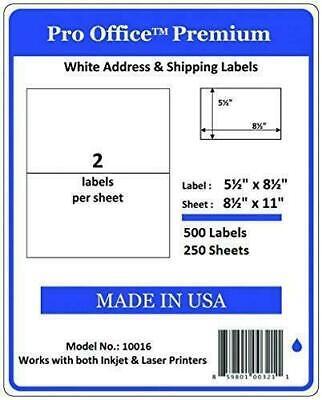 500 Half Sheet Self Adhesive Shipping Labels