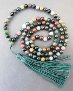 Tibetan Buddhist 108 Agate Prayer Beads Mala Necklace